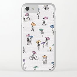 Tiny People in Autumn Clear iPhone Case