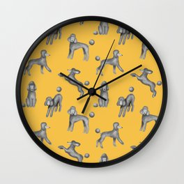 Gray Poodles Pattern (Yellow Background) Wall Clock