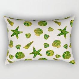 Beach Treasures - Green Rectangular Pillow