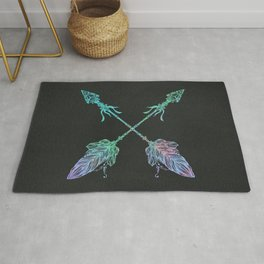 Tribals Arrows Turquoise on Gray Black Rug