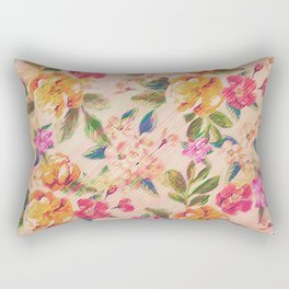 Golden Flitch (Digital Vintage Retro / Glitched Pastel Flowers - Floral design pattern) Rectangular Pillow