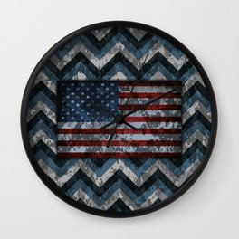Blue Military Digital Camo Pattern with American Flag Wall Clock