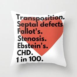 Types of congenital heart defects - for CHD awareness Throw Pillow