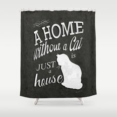 Home with Cat Shower Curtain