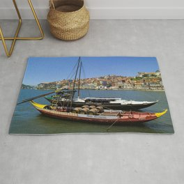 Port wine barges on the Douro Rug