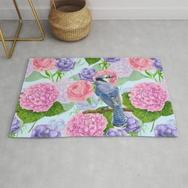 Blue jay and flowers watercolor  Rug