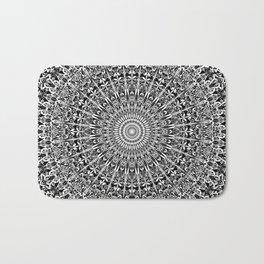Grey Geometric Floral Mandala Bath Mat