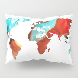 Map of The World 4 -Colorful Abstract Art Pillow Sham