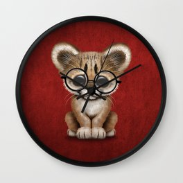 Cute Cougar Cub Wearing Reading Glasses on Red Wall Clock