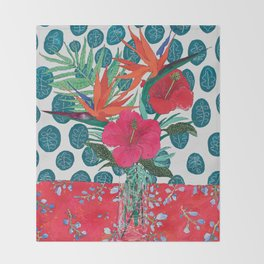 Tropical Bouquet in Living Coral and Emerald Green Throw Blanket