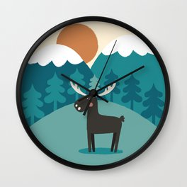 Moose In The Mountains Wall Clock