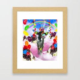 Sloth Riding Alpaca With Sundae And Jelly Beans Framed Art Print