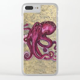 Octopus on Gold Clear iPhone Case