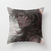 artgerm Throw Pillows featuring Survivor by Artgerm™