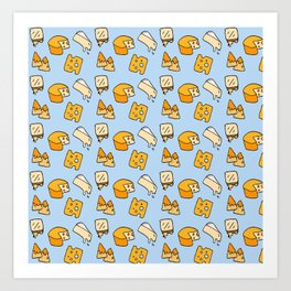 Cheese Pattern with Brie Nachos and Swiss Cheese in Blue Art Print