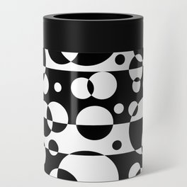 Black White Geometric Circle Abstract Modern Print Can Cooler
