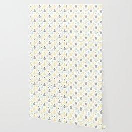 Geometrical gray yellow blue modern leaves Wallpaper
