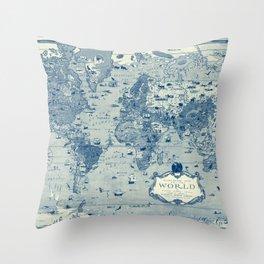 Blue Mercator Map Throw Pillow