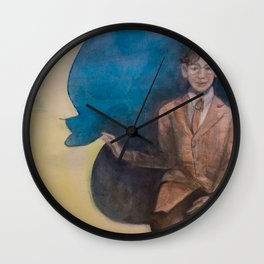 Watercolor Portrait of Boy on a Crescent Moon Wall Clock