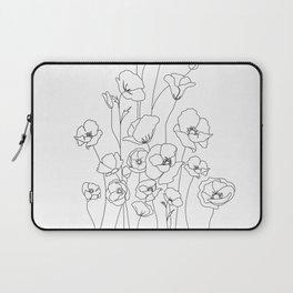 Poppy Flowers Line Art Laptop Sleeve