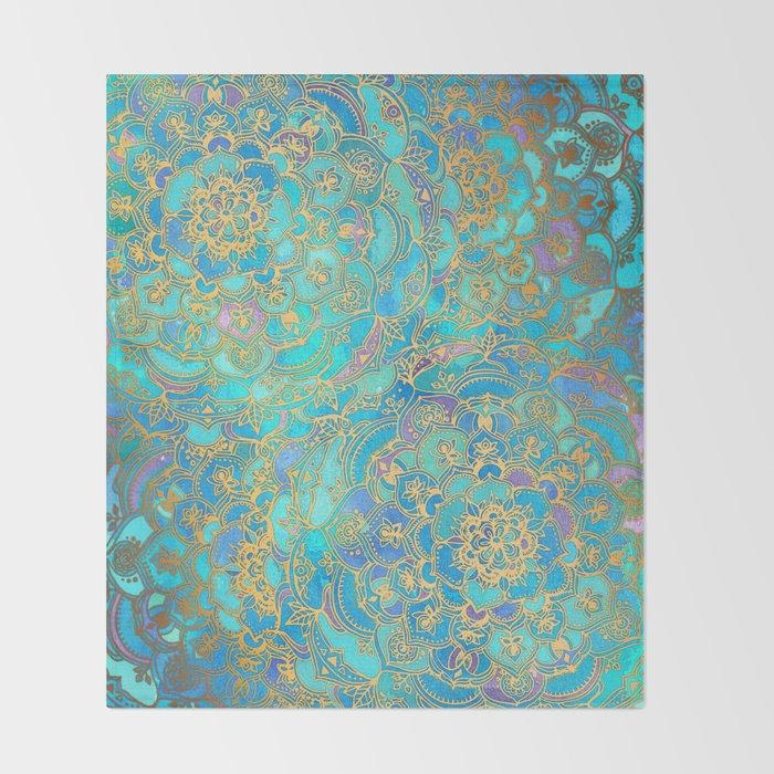Sapphire & Jade Stained Glass Mandalas Decke