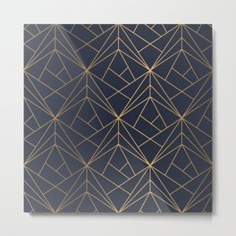 Navy blue Gold Geometric Pattern With White Shimmer Metal Print