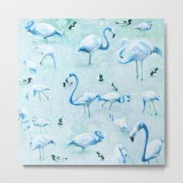 Flamingos Vintage Blue Metal Print