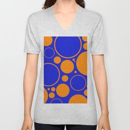 Bubbles And Rings In Orange And Blue Unisex V-Neck