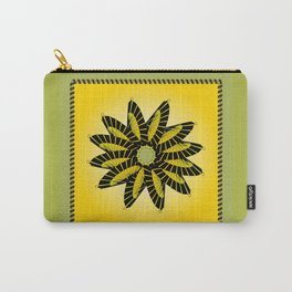 Yellow Stitched Flower Carry-All Pouch
