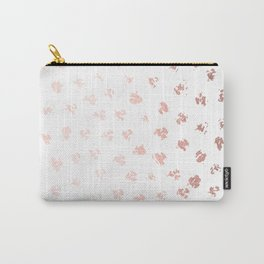 Rose Gold Pink Polka Splotch Dots on White Carry-All Pouch