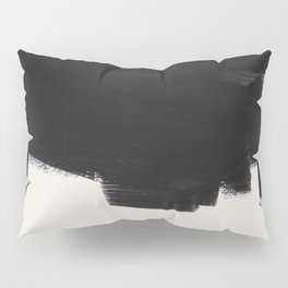 Mid Century Modern Minimalist Abstract Art Brush Strokes Black & White Ink Art Colorfield Pillow Sham