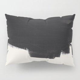 Mid Century Modern Minimalist Abstract Art Brush Strokes Black & White Ink Art Colorfield Pillow Sham