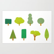 Trees and shapes Art Print