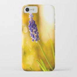 Beautiful Spring Muscari Bokeh background  #decor #society6 #homedecor iPhone Case