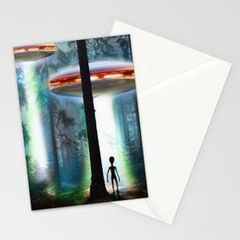UFO Alien Forest / Flying Saucers Stationery Cards