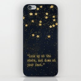 Look up at the stars, not down at your feet - gold glitter effect Typography iPhone Skin