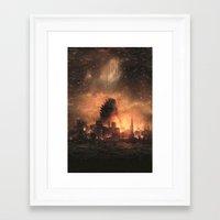 godzilla Framed Art Prints featuring Godzilla by crayonide
