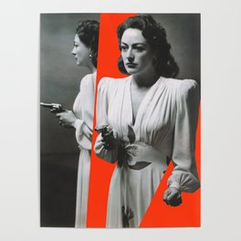 Joan Crawford - Mildred Pierce - Red collage art Poster
