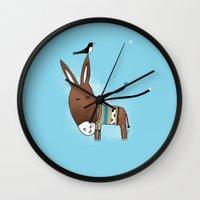 donkey Wall Clocks featuring Happy Donkey by Kristina Sabaite