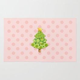 Pink Polka Dots Christmas Rug