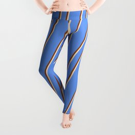 Cornflower Blue, Brown, and Bisque Colored Lines Pattern Leggings