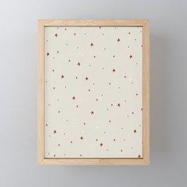 Creamy Christmas Stars Pattern Framed Mini Art Print