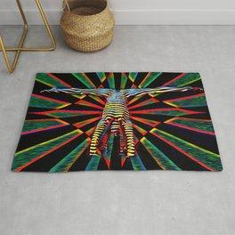 3709s-DEW Abstract Pop Art Feminine Power Yoga Headstand Split Zebra Nude Rug