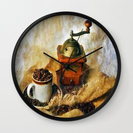 Coffee Grinder and Coffee Cup Wall Clock