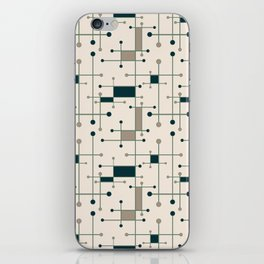 Intersecting Lines in Dark Teal, Tan and Navy iPhone Skin