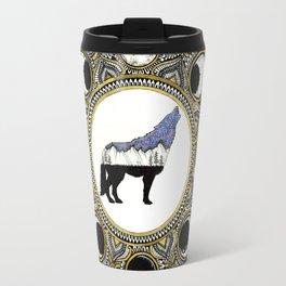 Double Exposure Wolf Howling at the Moon Mandala Travel Mug