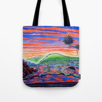 psychadelic Tote Bags featuring  Surf Art Psychadelic  by Surf Art Gabriel Picillo
