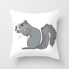 Funny and Cute Squirrel with Glasses Reads Acorn Map Throw Pillow