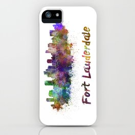 Fort Lauderdale skyline in watercolor iPhone Case
