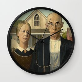 American Gothic by Grant Wood, 1930 Wall Clock